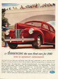 Announcing The New Ford Cars For 1940 | Print Ads | hobbyDB
