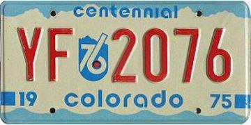 Colorado Centennial Passenger License Plate | License Plates