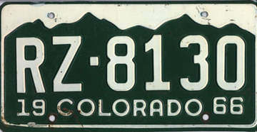 1966 Colorado Passenger License Plate | License Plates