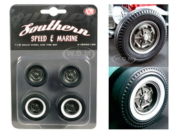 1932 Ford 5 Five Window Southern Speed and Marine Kidney Bean Hot Rod Wheels and Tires Set of 4 | Model Spare Parts