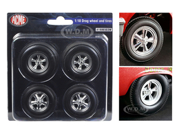 Chrome Drag Wheels and Tires Set of 4 | Model Spare Parts