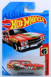 '70 Chevelle SS Wagon | Model Cars | HW 2018 - Collector # NONE - HW Daredevils 1/5 - '70 Chevelle SS Wagon - Red - International Long Card - Side Tampos are mis-aligned.
