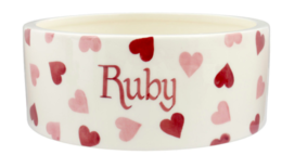 Personalised Pink Hearts Large Pet Bowl | Ceramics | Personalised Pink Hearts Large Pet Bowl