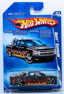 Chevy Silverado | Model Trucks | HW 2009 - Collector # 117/166 - Heat Fleet 01/10 - Chevy Silverado - Black - International Long Card