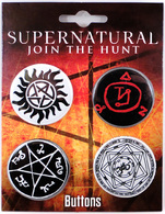 Supernatural Button Set   Pins & Badges   Supernatural Button Set (front)