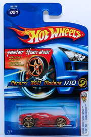 Ferrari 360 Modena | Model Cars | HW 2005 - Collector # 051/183 - First Editions / X-Raycers 1/10 - Ferrari 360 Modena - Transparent Red - Faster Than Ever - USA '06 Card