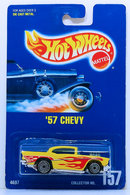 '57 Chevy | Model Cars | HW 1991 - Collector # 157 - '57 Chevy - Yellow - UH Wheels - without '57 Chevy on the Base - Blue Card