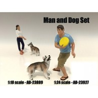 Man and Dog 2 Piece Figure Set | Diorama Accessories