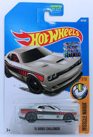'15 Dodge Challenger | Model Cars | HW 2017 - Collector # 048/365 - Muscle Mania 7/10 - '15 Dodge Challenger - Metallic Silver - USA Card with Factory Set Sticker