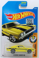 '69 Dodge Charger 500 | Model Cars | HW 2017 - Collector # 095/365 - Muscle Mania 6/10 - '69 Dodge Charger 500 - Yellow - USA Card with Factory Set Sticker