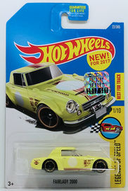 Fairlady 2000 | Model Racing Cars | HW 2017 - Collector # 022/365 - Legends of Speed 1/10 - Fairlady 2000 - Pale Yellow - USA Card with Factory Set Sticker
