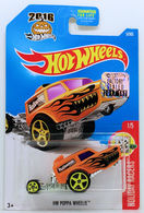 HW Poppa Wheelie | Model Cars | HW 2017 - Collector # 005/365 - Holiday Racers 1/5 - HW Poppa Wheelie - Orange - USA Card with Factory Set Sticker