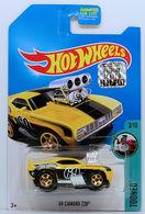 '69 Camaro Z28 | Model Cars | HW 2017 - Treasure Hunt - Tooned 3/10 - '69 Camaro Z28 - Yellow - USA Card with Factory Set Sticker