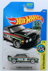 '73 BMW 3.0 CSL Race Car | Model Racing Cars | HW 2017 - Collector # 057/365 - HW Speed Graphics 4/10 - '73 BMW 3.0 CSL Race Car - Black - USA Card with Factory Set Sticker
