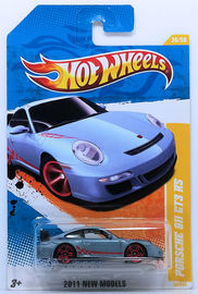 Porsche 911 GT3 RS | Model Cars | HW 2011 - Collector # 036/244 - New Models 36/50 - Porsche 911 GT3 RS - Steel Blue Metallic - USA Card