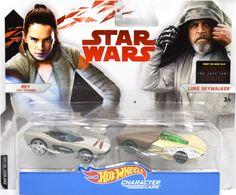 Rey Jedi Training & Luke Skywalker   Model Vehicle Sets   Hot Wheels Star Wars Rey & Luke Skywalker Character Cars