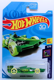 Winning Formula | Model Racing Cars | HW 2018 - Collector # 037/365 - HW Glow Wheels 4/10 - Winning Formula - Green - USA Card