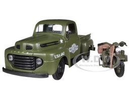 1948 Ford F-1 Pickup with 1942 Harley-Davidson WLA Flathead Motorcycle | Model Vehicle Sets