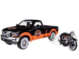 1999 Ford F-350 Pickup  with 1936 El Knucklehead Motorcycle | Model Vehicle Sets