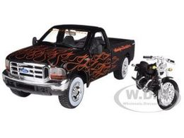 1999 Ford F-350 Super Duty Pickup  with 2002 FLSTB Night Train Harley Motorcycle | Model Vehicle Sets