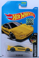 '90 Acura NSX | Model Cars | HW 2017 - Collector # 094/365 - Nightburnerz 4/10 - '90 Acura NSX - Yellow - USA Card with Factory Set Sticker