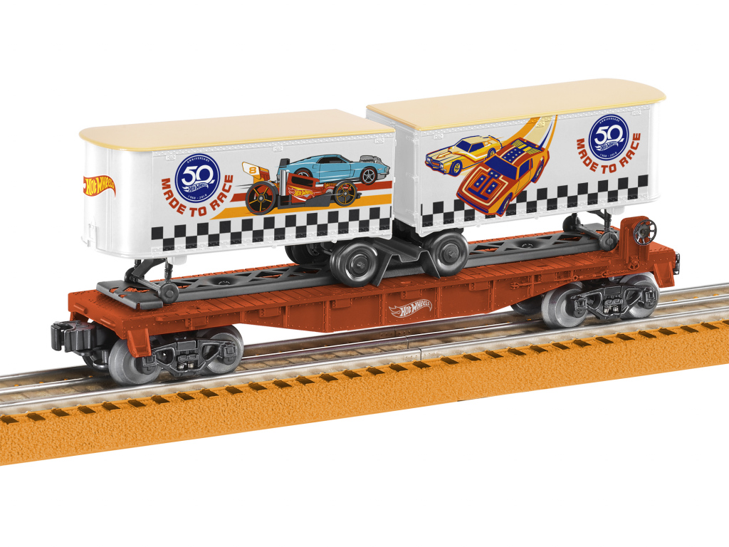 Hot wheels th anniversary flat car with trailers model