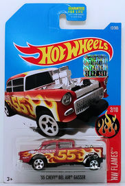 '55 Chevy Bel Air Gasser | Model Racing Cars | HW 2017 - Collector # 012/365 - HW Flames 2/10 - '55 Chevy Bel Air Gasser - Satin Red - USA Card - USA Card with Factory Set Sticker