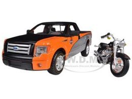 2010 Ford F-150 STX Pickup with Harley Davidson FLSTF Fat Boy Motorcycle | Model Vehicle Sets