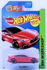 Tesla Model S | Model Cars | HW 2015 - Collector # 217 - HW Workshop / HW Garage - Tesla Model S - Red - USA Card