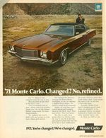 1971 Chevy Monte Carlo. Changed? No, Refined | Print Ads