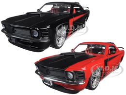 1970 Ford Mustang Boss 429 Black & Red 2 Car Set | Model Vehicle Sets