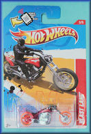 Blast Lane | Model Motorcycles | HW 2012 - Collector # 203/247 - Thrill Racers / Volcano 3/5 - BLAST LANE (Motorcycle) - Red - USA Scan & Track Card