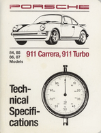 Porsche 84, 85, 86, 87 Models 911 Carrera, 911 Turbo Technical Specifications | Manuals & Instructions