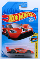 2016 Ford GT Race | Model Racing Cars | HW 2018 - Collector # 071/365 - Legends of Speed 4/10 - 2016 Ford GT Race - Orange - USA 50th Card