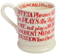 Red Toast Shakespeare Quotes Half Pint Mug - Emma Bridgewater | Ceramics | RSC Shakespeare Mug