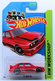 '92 BMW M3 | Model Cars | HW 2014 - Collector # 195/250 - HW Workshop / HW All Stars - '92 BMW M3 - Red - PR5 Wheels - NO Roll Bar - USA Card