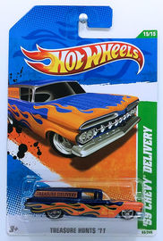 '59 Chevy Delivery | Model Cars | HW 2011 - Collector # 065/244 - Super Trea$ure Hunt$ 15/15 - '59 Chevy Delivery - Spectraflame Dark Blue - USA Card