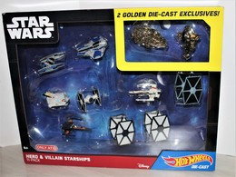 Hot Wheels STAR WARS / Hero and Villain Starships  | Model Aircraft | Hot Wheels STAR WARS Hero and Villain Starships 11-Pack.  ( 2 Golden Die-cast Exclusives included.