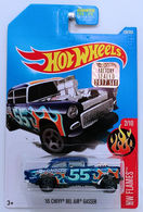 '55 Chevy Bel Air Gasser | Model Racing Cars | HW 2017 - Collector #109/365 - HW Flames 2/10 - '55 Chevy Bel Air Gasser - Blue - USA Card with Factory Set Sticker
