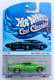 AMC Rebel Machine   Model Cars   HW 2013 - Cool Classics Series # 11/30 - AMC Rebel Machine - Spectrafrost Green - Metal/Metal & Retro Slots - Blue Car Artwork