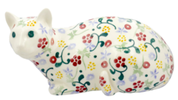 Spring Floral Lying Down Cat Right - Emma Bridgewater | Ceramics | Spring Floral Lying Down Cat Right