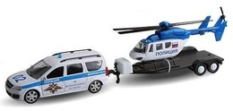 Lada Largus With Trailer | Model Cars | Lada Largus Police with Trailer and Police Helicopter