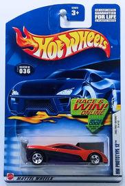 HW Prototype 12 | Model Cars | HW 2002 - Collector # 036/240 - First Editions 24/42 - HW Prototype 12 - Metalflake Dark Orange - 5 Spoke - USA 'Race & Win'Card