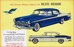 The Chrysler Windsor DeLuxe V-8 Blue Heron | Print Ads
