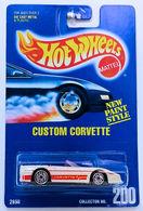 Custom Corvette     | Model Cars | HW 1993 - Collector # 200 - Custom Corvette - White - UH Wheels - USA Blue Card with 'New Paint Style'