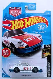 '71 Porsche 911 | Model Racing Cars | HW 2018 - Collector # 115/365 - Nightburnerz 10/10 - '71 Porsche 911 - White - USA '50th' Card with Urban Outlaw Logo