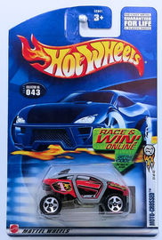 Moto-Crossed | Model Cars | HW 2002 - Collector # 043/240 - Series 31/42 - Moto-Crossed - Red - 5 Spoke - USA 'Race & Win' Card