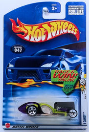 I Candy | Model Cars | HW 2002 - Collector # 047/240 - First Editions 35/42 - I Candy - Metallic Lime & Transparent Purple - Clear Windows - USA 'Race & Win' Card