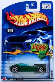Ballistik | Model Cars | HW 2002 - Collector # 053/240 - Series 41/42 - Ballistik - Metallic Green - Both Engine Scoops Open - USA 'Race & Win' Card