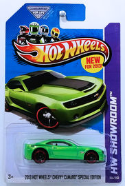2013 Hot Wheels Chevy Camaro Special Edition | Model Cars | HW 2013 - Collector #194/250 - HW Showroom / HW Garage - 2013 Hot Wheels Chevy Camaro Special Edition - Green - USA Card with 'New For 2013'